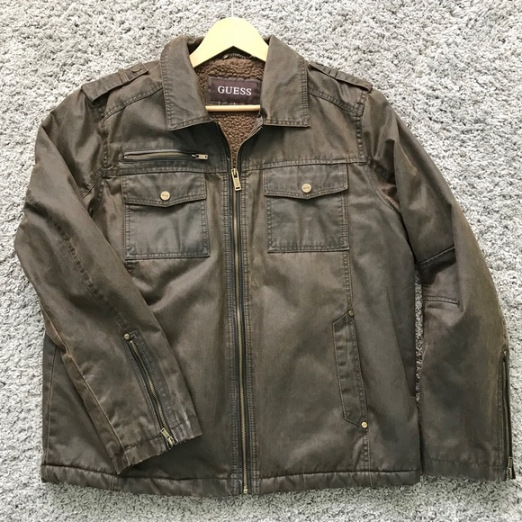 Guess Other - GUESS men's spring fall jacket size L brown